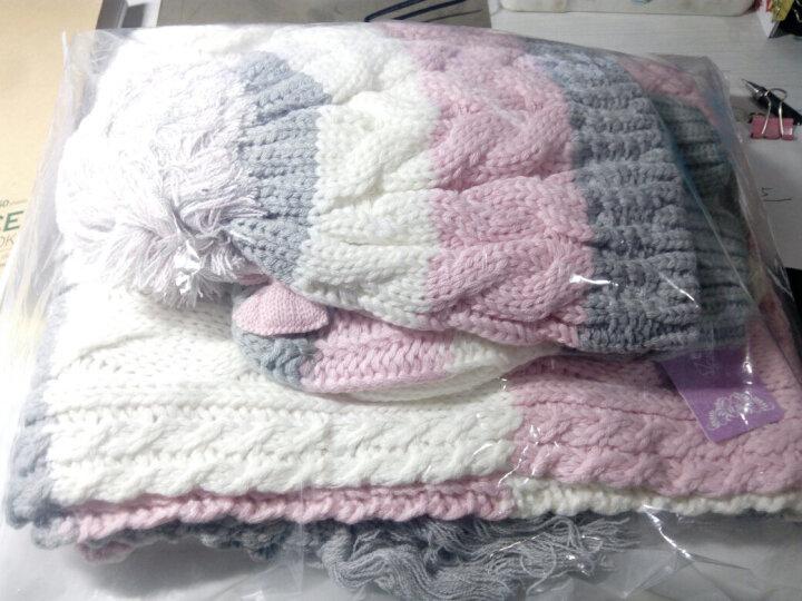 帽子手套围巾三件套女一体围脖冬季女生毛线帽保暖可爱蝴蝶结生日礼物 粉红色 晒单图