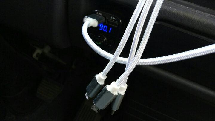 鹿港(LUGN)车载充电器快充蓝牙MP3音乐播放器车充点烟器FM发射器蓝牙免提电话 官方标配+二合一线 晒单图