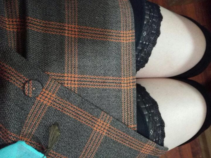 Shavim 半身裙2018春季韩版女装新款高腰修身显瘦A字格子一步西装百褶包臀 短裙女夏 蓝色绣花 S码 晒单图