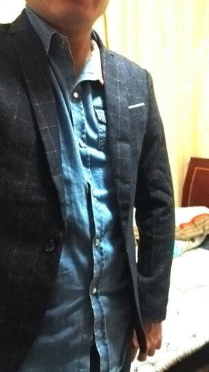 裃欧京品  2018春秋季小西服男新品韩版修身格子休闲小西装男士时尚单西外套潮 蓝色 XL 晒单图