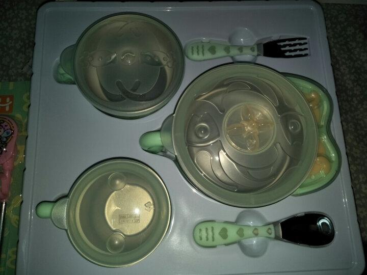 好伊贝(HOY BELL) 好伊贝保温碗儿童餐具 宝宝不锈钢餐具套装吸盘碗辅食碗勺 大象碗4件套绿 晒单图