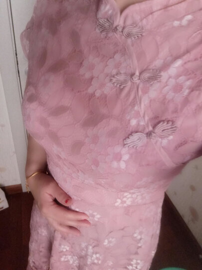 艾慕琳改良旗袍蕾丝连衣裙短袖2018春夏新款性感优雅网纱拼接喇叭袖百褶裙B25 黑色 M 晒单图