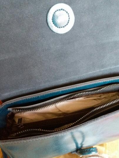 歌菲妮斜跨女包2020春季新款复古斜挎包小方包牛皮女包休闲女士小包包时尚单肩斜挎包牛皮包 靛蓝色 晒单图