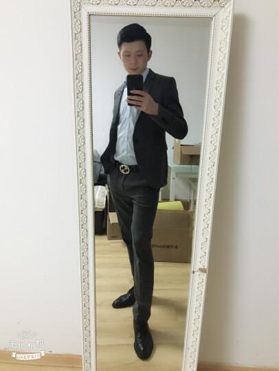 西服套装男2018新款男士修身西装新郎结婚礼服商务职业休闲西服两件套男单件西装 灰色二件套(西服+西裤) XL 晒单图