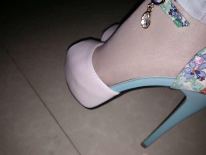 韩尚娇点  2018夏季新款欧美时尚细跟一字扣带包跟高跟凉鞋女 亮钻鱼嘴女鞋公主鞋 米白色 36 晒单图