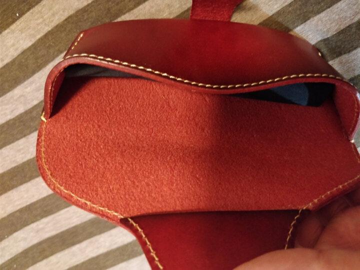 Geremen意大利进口皮 纯手工缝制 男女通用眼镜盒真皮  头层皮眼镜盒男YH02 红棕色 晒单图