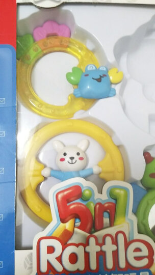 玛力玩具(mali-toys)摇铃玩具五只装小蟹牙胶礼盒装益智玩具 T9010 晒单图