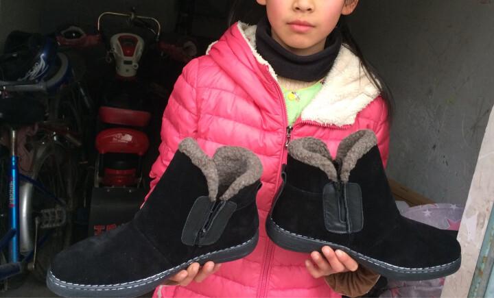雪地靴男短靴马丁靴冬季加绒保暖 黑色-加绒 44 晒单图