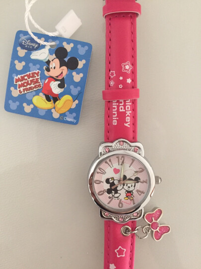 迪士尼(Disney)儿童手表小女生可爱公主吊坠手表夜光指针小学生石英手表玫红色 DC-54001J 晒单图