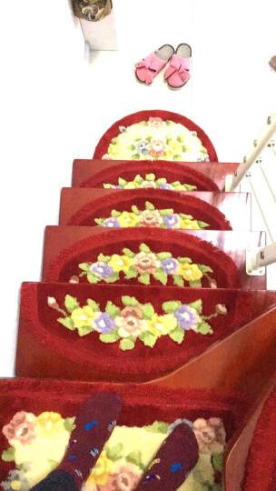 馨采欧式 楼梯垫 楼梯踏步垫免胶自粘型 防滑地垫半圆形踏步垫 楼梯垫大红色 26*70cm一片 晒单图