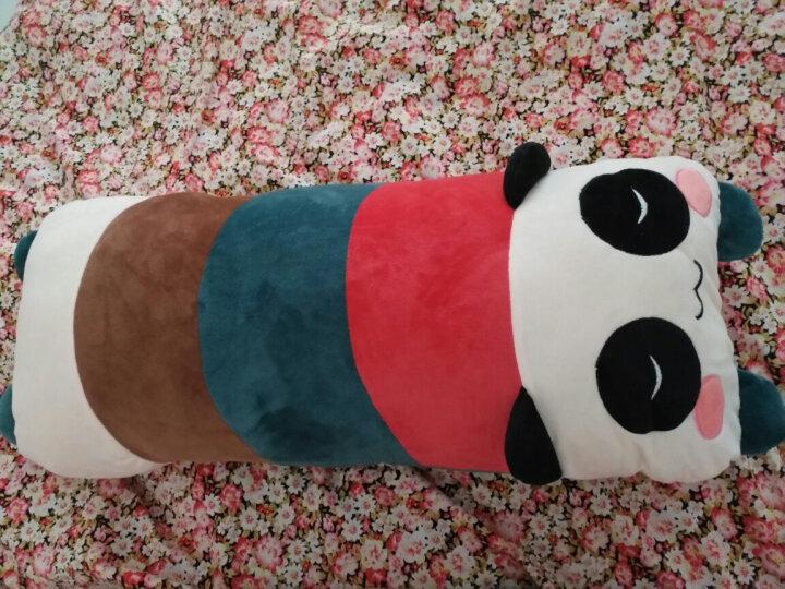 小笨熊   兔子抱枕公仔大象毛绒可爱懒人睡觉长条抱枕可拆洗可爱女孩玩具儿童枕头 绿脚眯眼熊猫 105*25厘米双人枕 可拆洗 枕芯枕套可分开 晒单图