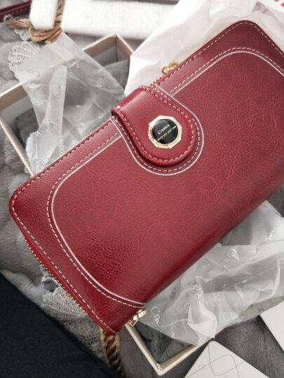 蔻一(Cnoles) 钱包女牛皮女士钱包长款钱夹皮夹复古手抓包女大容量时尚休闲手拿包 K091红色 晒单图