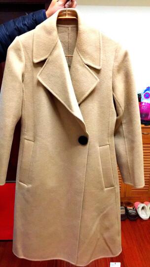 哥弟女装2019秋冬新款翻领一粒扣中长款双面羊毛呢大衣女A400072 红 M(3码) 晒单图