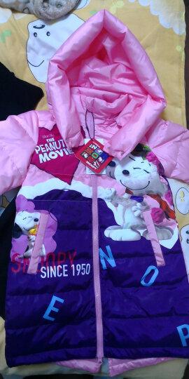 史努比(SNOOPY) 2017新款史努比Snoopy儿童装羽绒服女童中长款加厚羽绒外套 大人物桃粉配紫 140 晒单图