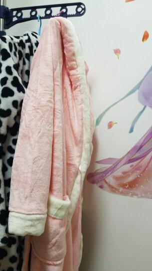 南极人睡衣睡袍浴袍男士秋冬法兰绒加厚情侣家居服女珊瑚绒加长保暖款 女士带帽粉色 L 晒单图