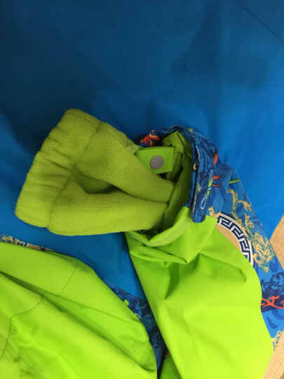 CAMKIDS 垦牧儿童冲锋衣男童秋冬装印花保暖外套户外防风防水抓绒保暖两件套 荧光绿 140 晒单图