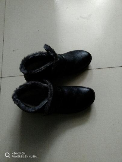 冬季妈妈鞋棉鞋真皮软底平底中老年女棉皮鞋高帮羊毛保暖防滑女士雪地靴短筒大码奶奶婆婆老人冬鞋 黑色 40码 晒单图