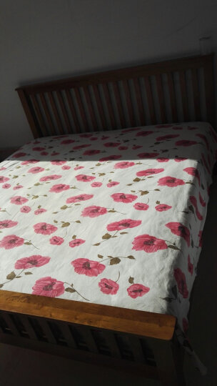 华谊 实木床 中式竖条床1.5米1.8米简易仿古色双人床英式乡村白橡木床 卧室家具 1800*2000mm 晒单图