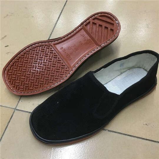 经典布鞋白塑料底中国传统布鞋条绒鞋男鞋红塑料底鞋yt 乌黑 红底 38 晒单图