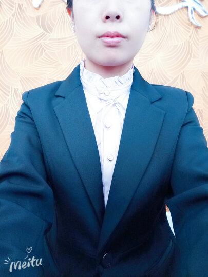伊雅露莎小西装女职业装女装套装2018新款马甲套装8226 黑西装+短裙+粉衬衣 M 晒单图