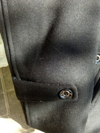 Go78 毛呢大衣男外套冬季新款韩版纯色修身翻领中长款加厚呢子风衣 藏蓝加厚808 M 晒单图