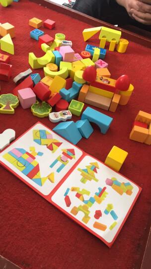 彩虹旗(CAIHONGQI)儿童益智玩具积木木制实木宝宝积木玩具男孩女孩1-3-6岁儿童礼物 (138块积木包含花园主题积木+80片拼图) 晒单图