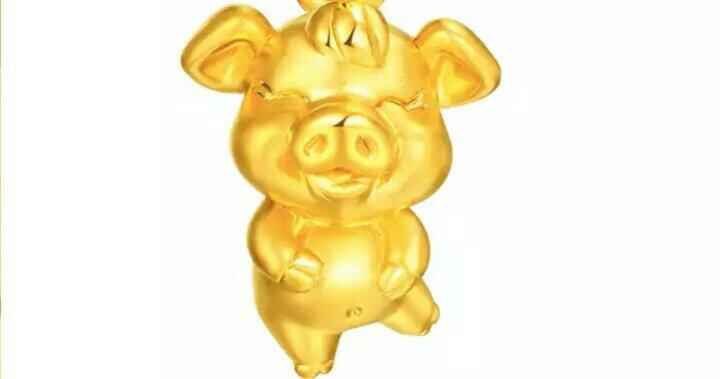 金尚利999足金  生肖猪金坠子 黄金吊坠男女 3D硬金项链坠 约1.46~1.55g 晒单图