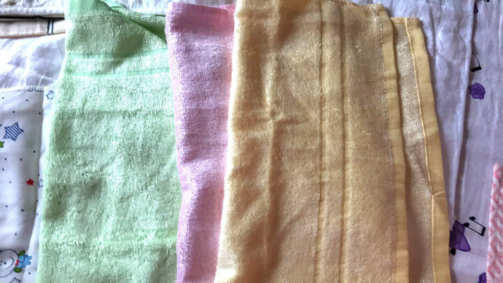 意婴堡(HEEBOO) 婴儿毛巾口水巾宝宝小方巾洗脸毛巾竹纤维纱布纯棉新生儿用品 3条装35*35黄绿粉 晒单图