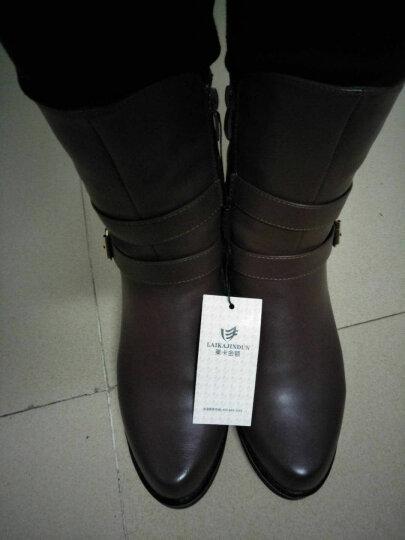 粗跟短靴女靴坡跟女鞋冬季低筒女士中跟马丁靴加绒保暖中筒靴 红色 40正码 晒单图