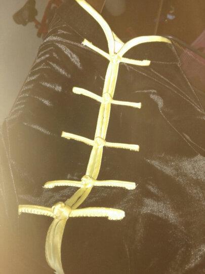 太极服女金丝绒秋冬加厚春秋刺绣花太极拳服装练功服套装男 蓝色云纹男 XS 晒单图