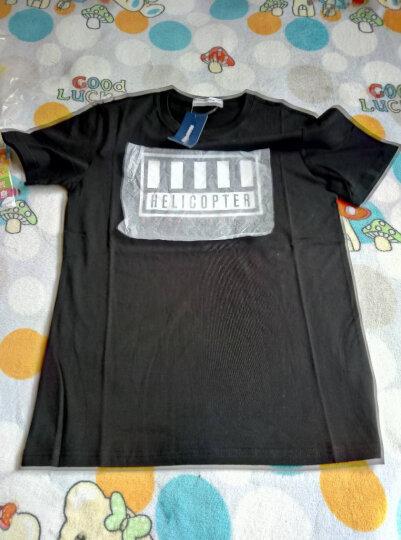 白色短袖t恤男士夏季字母印花T恤纯棉衣服赵磊 影黑 165/88A 晒单图