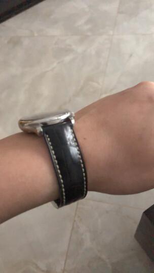 智盛手工配件鳄鱼皮表带 代用浪琴名匠表带瑰丽律雅男女真皮手表带 无扣黑皮LQ-AC 20mm 晒单图