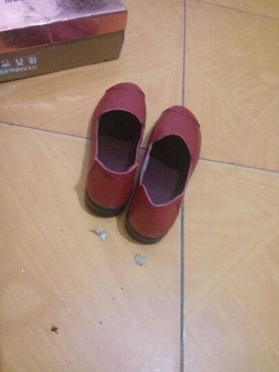 柯奇诺单鞋妈妈鞋新款真皮韩版坡跟单鞋女休闲浅口粗跟女鞋低跟平底工作鞋套脚大码女皮鞋 5865红色 40 晒单图