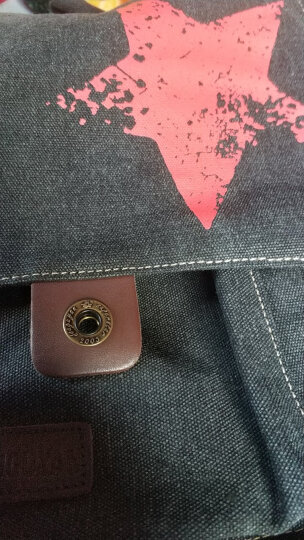 豆鼓眼(DouGuYan)帆布双肩背包男韩版女休闲旅行15.6英寸书包G00121黑色有图案 晒单图