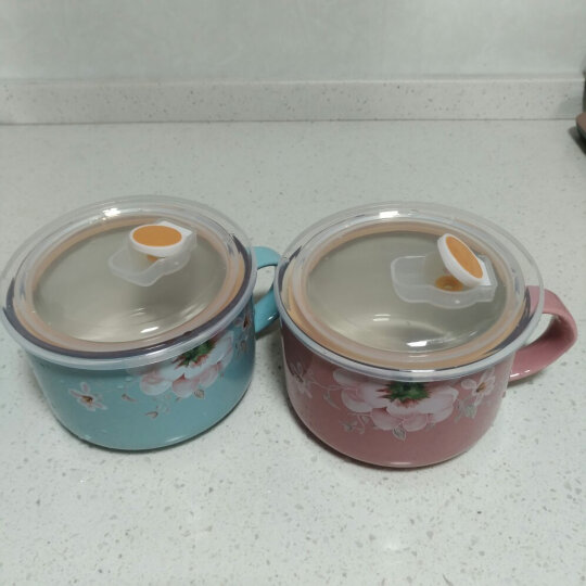 厨美陶瓷碗(5.25英寸)日韩式色釉创意情侣面碗汤碗 带盖 带把手面碗 2只装 繁花似锦 晒单图
