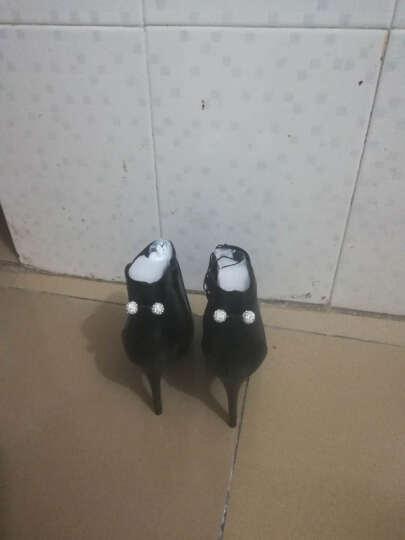 莱卡金盾秋款女鞋子2017新款细跟高跟鞋英伦风尖头短靴女单靴马丁靴潮靴子女 红色LK6102 37 晒单图
