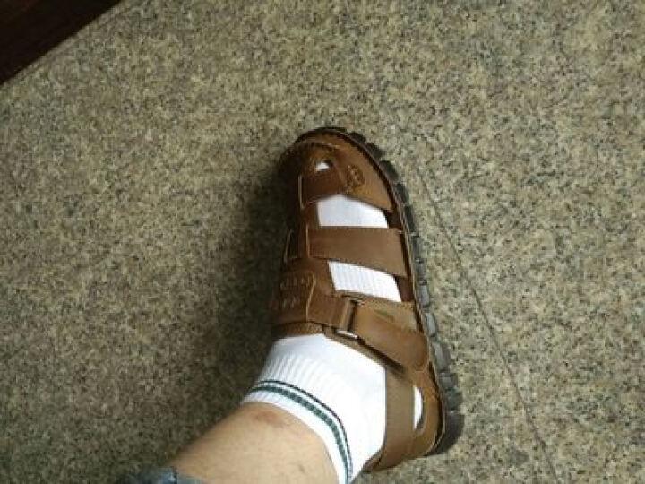 英国[BCS]邦楚仕2019新款凉鞋 男士夏季真皮包头户外沙滩鞋牛皮凉鞋男 16311-1棕色 43 晒单图