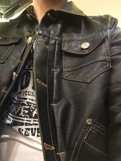 男士外套春秋季新款皮夹克韩版潮流修身男装冬季休闲帅气皮衣机车 棕色8715 XL 晒单图