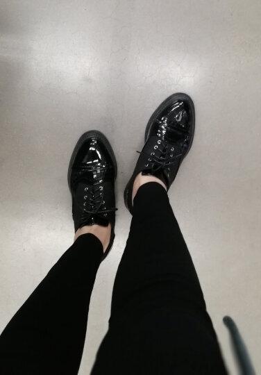 唤美娅复古英伦风女鞋2018新款春季布洛克牛津小皮鞋学生漆皮单鞋 黑色加绒(偏小一码) 38 晒单图