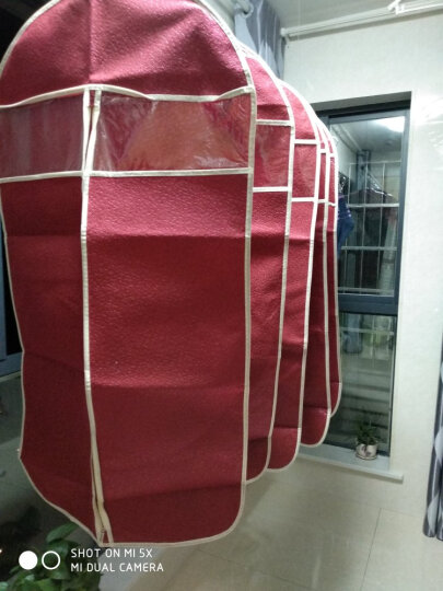 衣服防尘罩套衣服罩西服罩居家收纳用品 酒红色 (5个中号) 晒单图