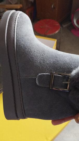 戈美缇2018雪地靴女内增高冬季新款牛皮兔毛雪地靴短筒厚底短靴防滑加厚加绒保暖棉鞋 卡其色 38 晒单图