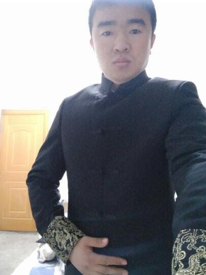 YHV 立领唐装男中山装套装中国风民族汉服修身青年男士古装盘扣套装 1621黑色龙纹套装 175上衣32裤子 晒单图