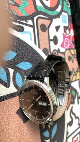 手工积家真力时沛纳海鳄鱼皮天梭浪琴美度蝴蝶扣真皮手表带男女士1241819202122mm 深棕色白线 接口宽度16mm 晒单图
