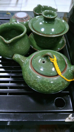 豪迈整块整版实木茶盘功夫紫砂茶具套装家用茶道茶杯茶台茶海茶壶四合一电磁炉 实木马到成功+青花瓷莲瓣 晒单图
