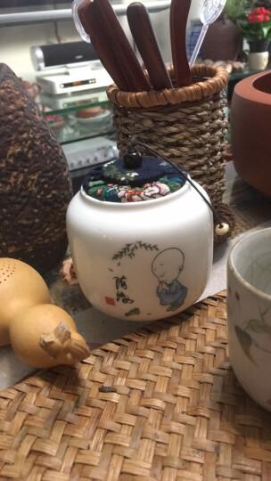 怀樽 茶叶罐陶瓷小号布盖白瓷罐 醒茶存茶储茶储物密封罐 红茶绿茶普洱通用便携特价 款四 求知 蓝盖 晒单图