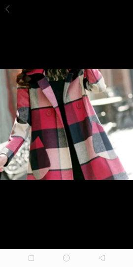 佩内落 毛呢大衣女2017秋冬新品女装新款韩版呢大衣双排扣格子毛呢外套女中长款毛呢大衣女A99 粉红色 L 晒单图