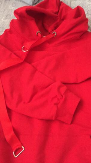 自由呼吸卫衣女学生2017新品运动休闲连帽套头卫衣女秋冬韩版宽松字母纯色长袖 大红 XXL 晒单图