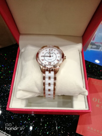 欧雷亚(OLEIR) 女士手表不锈钢陶瓷女表L6860 防水高端时尚女款水钻石英手表名牌手表进口机芯 玫瑰金陶瓷 晒单图