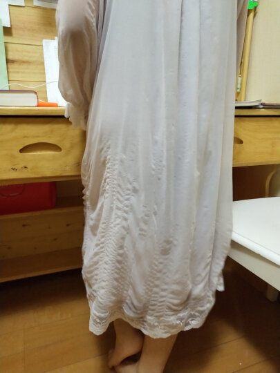 RoseTree女童复古宫廷睡裙夏季长袖蕾丝小公主睡裙小女孩睡衣 柔粉色 130cm 晒单图