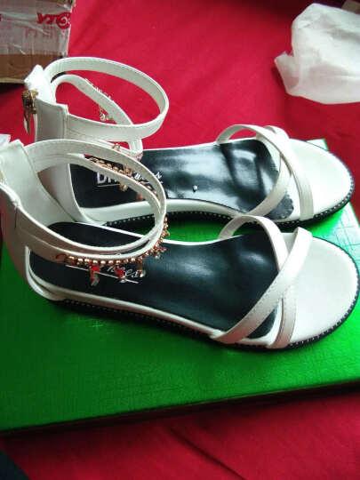 盾狐新款平底凉鞋女夏季罗马风水钻平跟休闲鞋韩版女鞋 2956黑色 37 晒单图